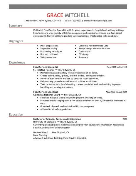amazing customer service resume examples livecareer format for food specialist example Resume Resume Format For Customer Service