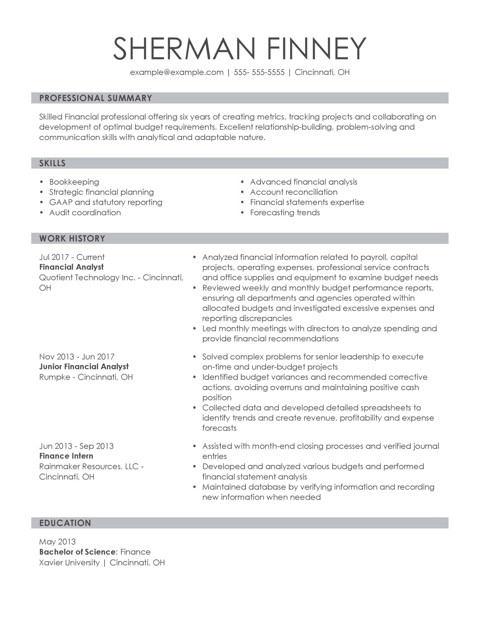 amazing finance resume examples livecareer professional financial analyst knowledgeable Resume Young Professional Resume