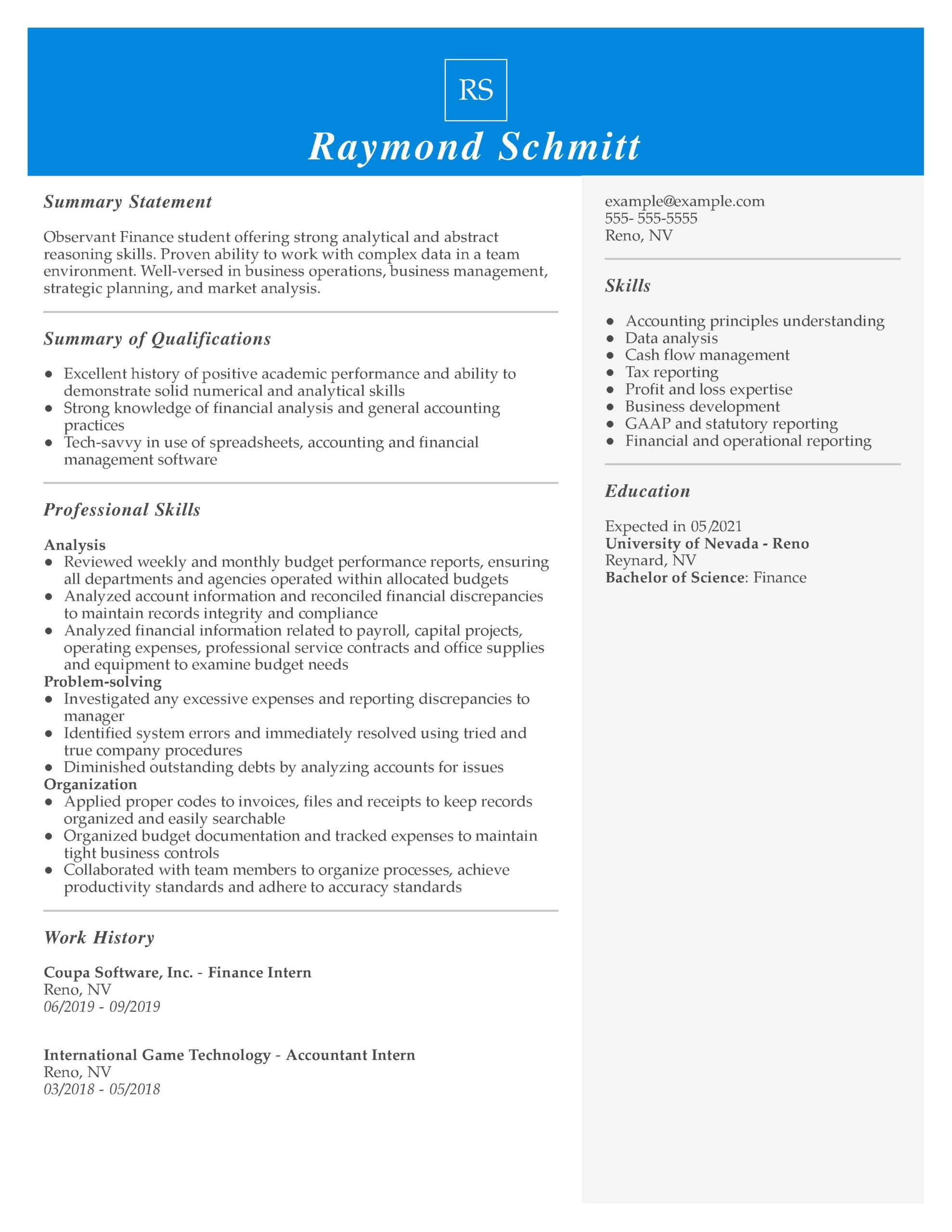 amazing finance resume examples livecareer student skills and abilities intern managerial Resume Student Resume Skills And Abilities Examples