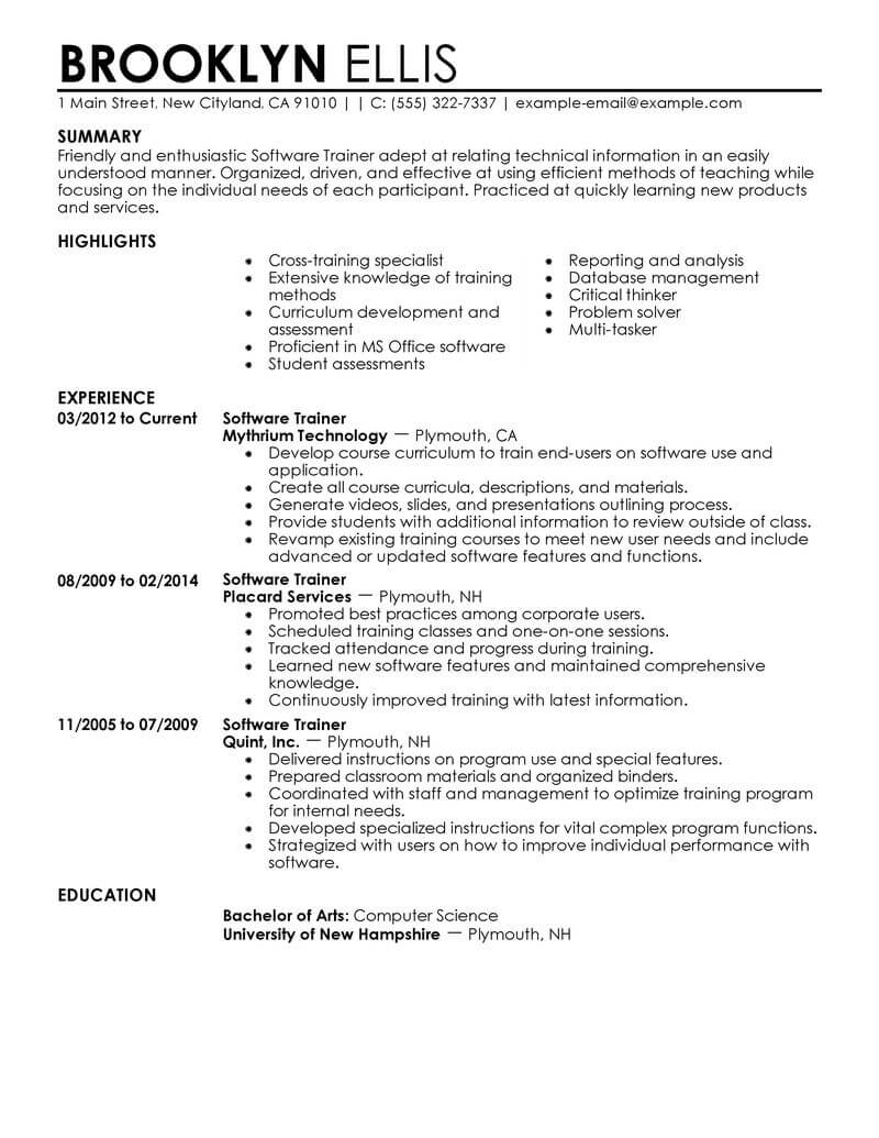 amazing it resume examples livecareer templates for its jobs software training Resume Resume Templates For Its Jobs