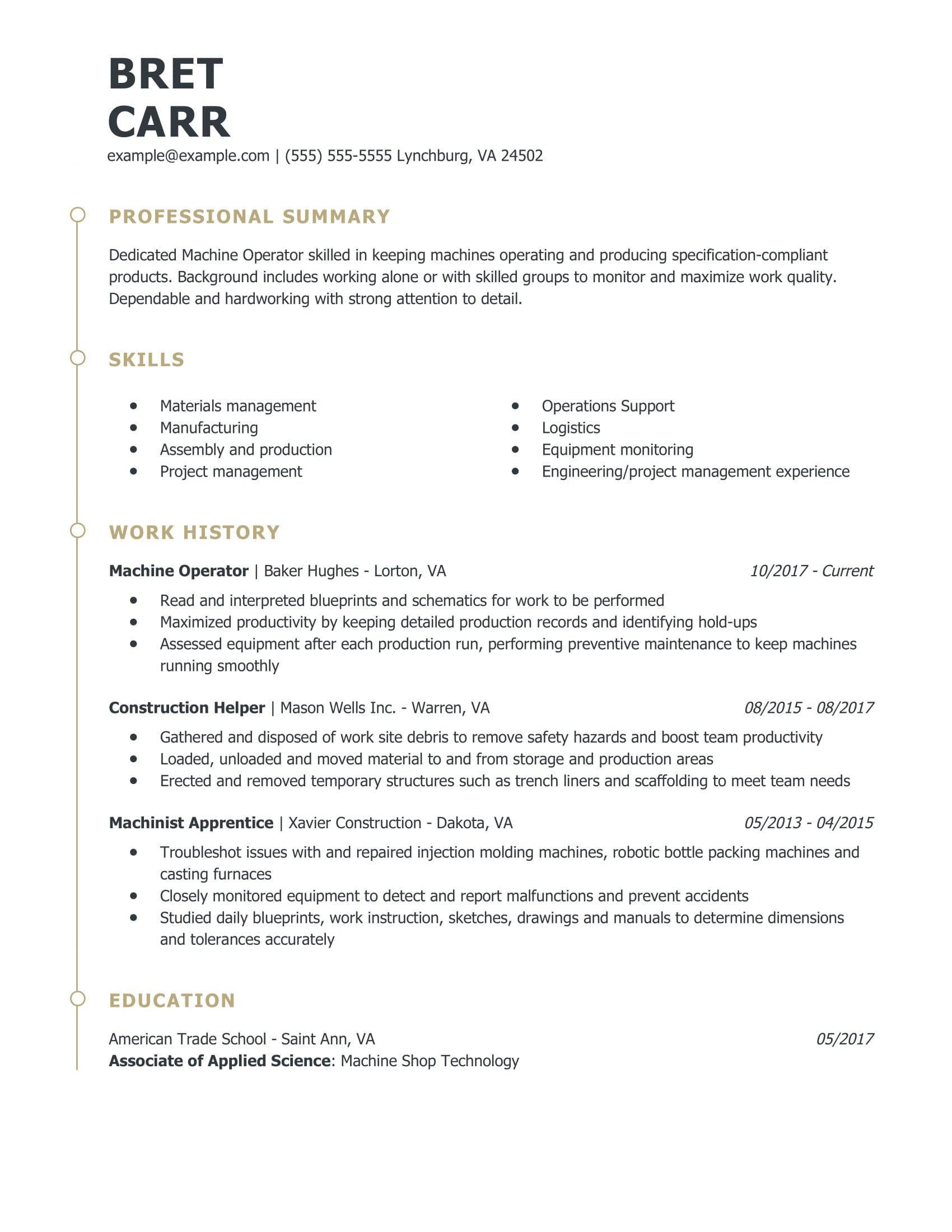 amazing production resume examples livecareer work related skills for machine operator Resume Work Related Skills For Resume