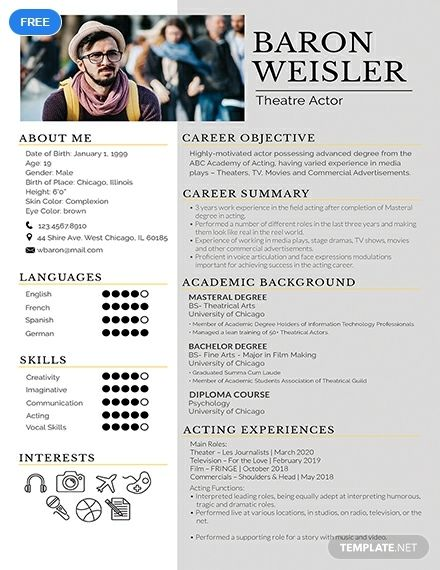 an eye catching resume template for those experienced in the field of theater use premium Resume Eye Catching Resume 2020