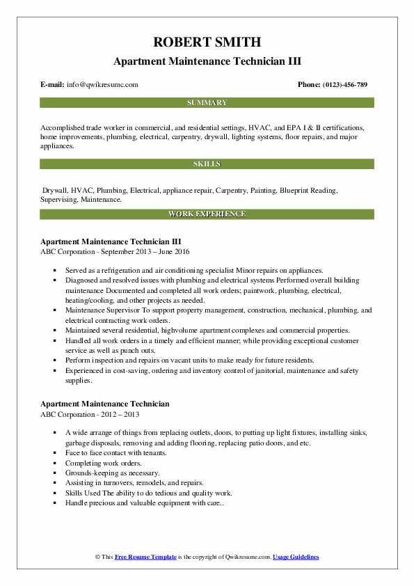 apartment maintenance technician resume samples qwikresume sample for pdf good objectives Resume Sample Resume For Apartment Maintenance Technician