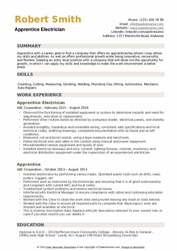 apprentice resume samples qwikresume entry level electrical pdf tips for writing your Resume Entry Level Electrical Apprentice Resume Samples