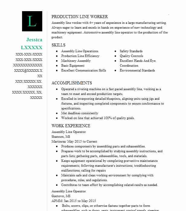 assembly line operator resume example resumes livecareer good job format for mba Resume Assembly Line Operator Resume