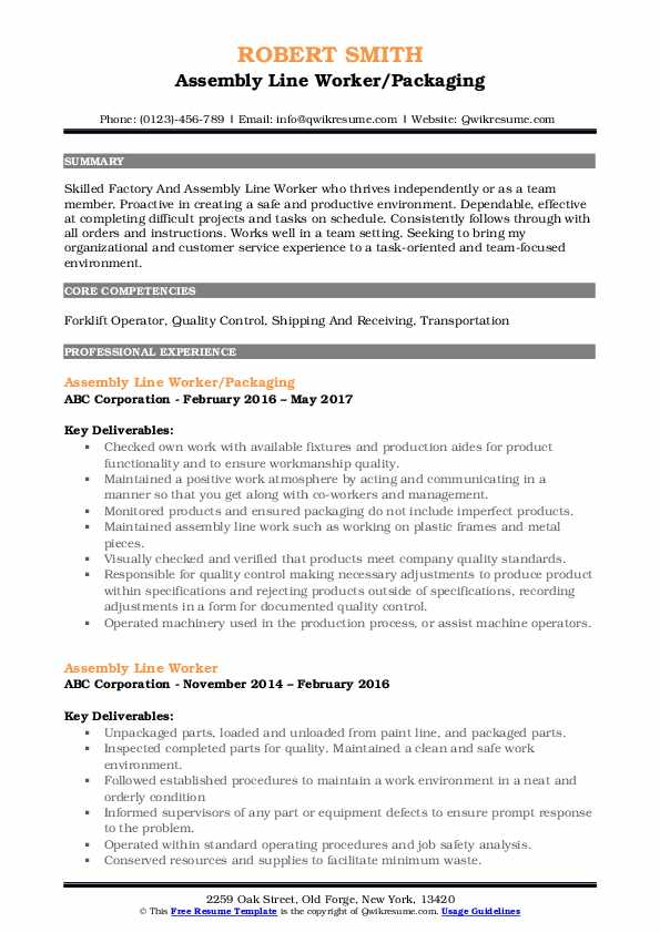 assembly line worker resume samples qwikresume operator pdf format for mba admission Resume Assembly Line Operator Resume