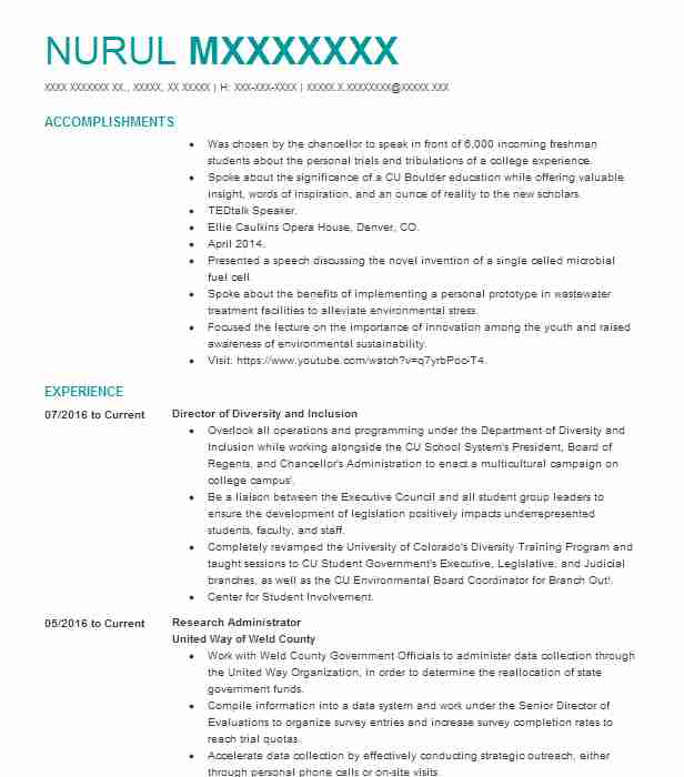 assistant dean of student life for equity diversity inclusion resume example company name Resume Diversity Manager Resume