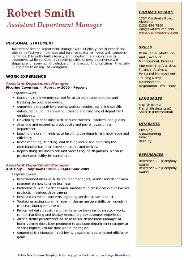 assistant department manager resume samples qwikresume retail examples pdf book indeed Resume Retail Department Manager Resume Examples