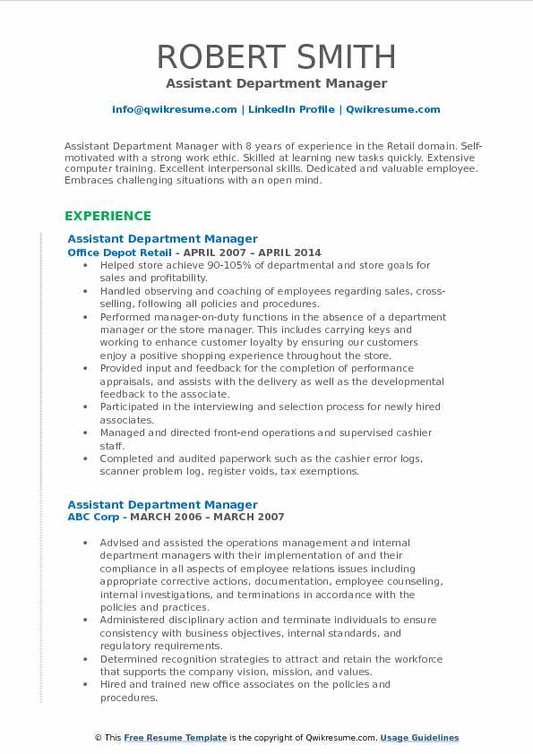 assistant department manager resume samples qwikresume retail examples pdf brief Resume Retail Department Manager Resume Examples