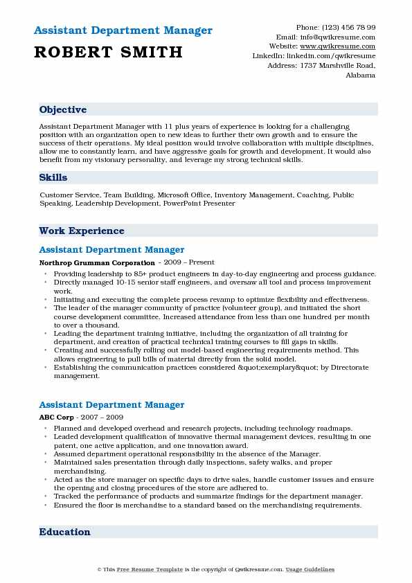 assistant department manager resume samples qwikresume retail examples pdf preschool Resume Retail Department Manager Resume Examples