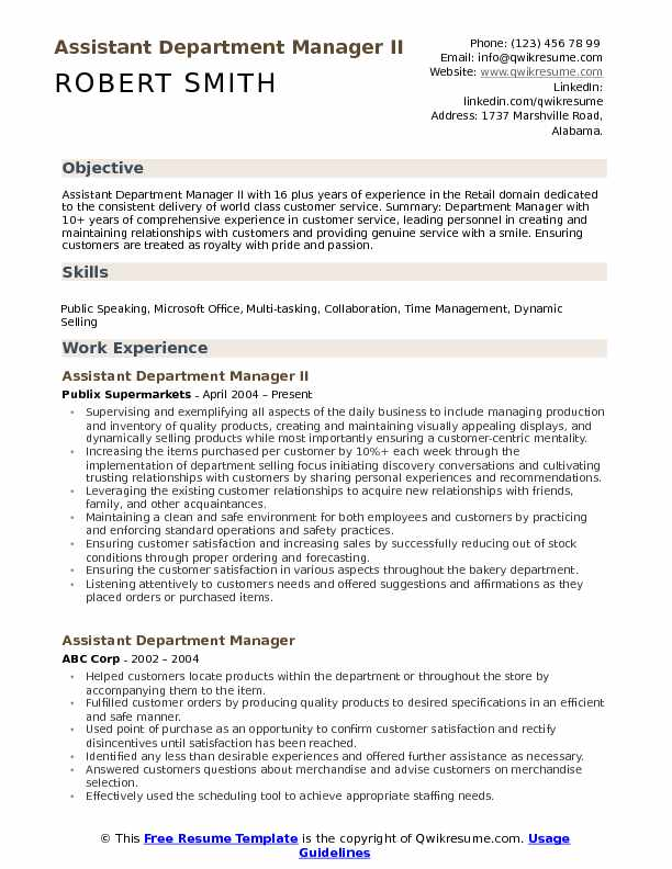 assistant department manager resume samples qwikresume retail examples pdf sample format Resume Retail Department Manager Resume Examples
