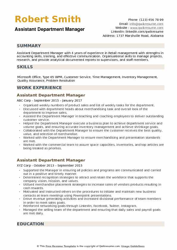 assistant department manager resume samples qwikresume retail examples pdf train new grad Resume Retail Department Manager Resume Examples