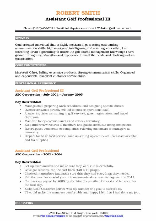 assistant golf professional resume samples qwikresume pdf engaging pitch about yourself Resume Assistant Golf Professional Resume