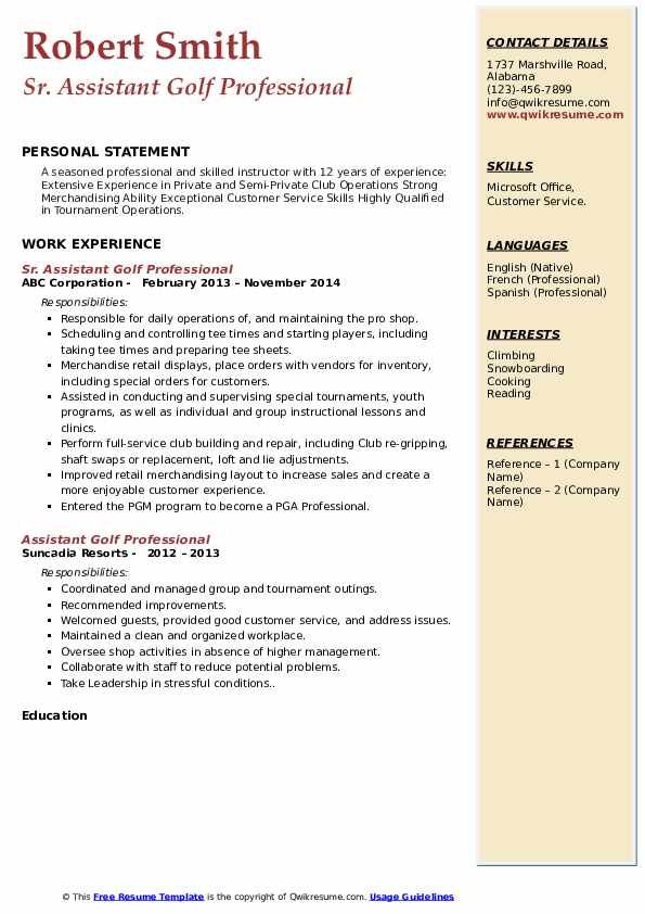 assistant golf professional resume samples qwikresume pdf most successful template Resume Assistant Golf Professional Resume
