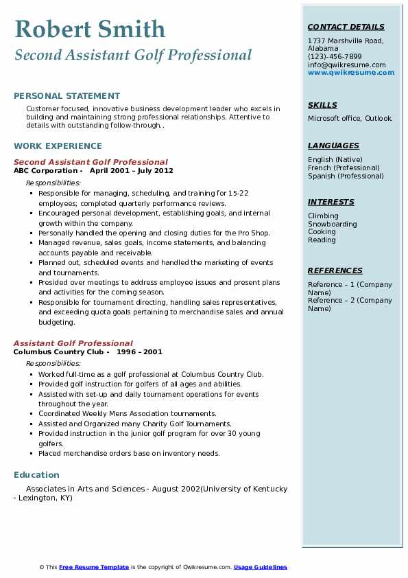 assistant golf professional resume samples qwikresume pdf system administrator objective Resume Assistant Golf Professional Resume