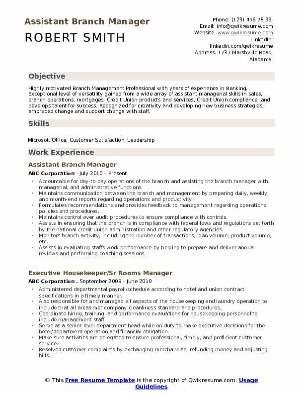 assistant manager resume samples qwikresume objective for pdf office coordinator chief Resume Branch Manager Objective For A Resume