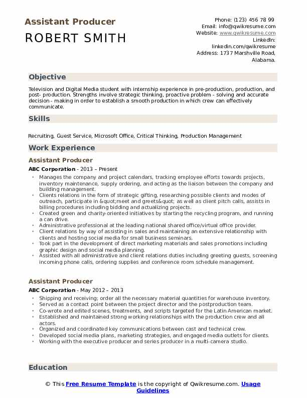 assistant producer resume samples qwikresume commercial pdf fitness manager credit Resume Commercial Producer Resume