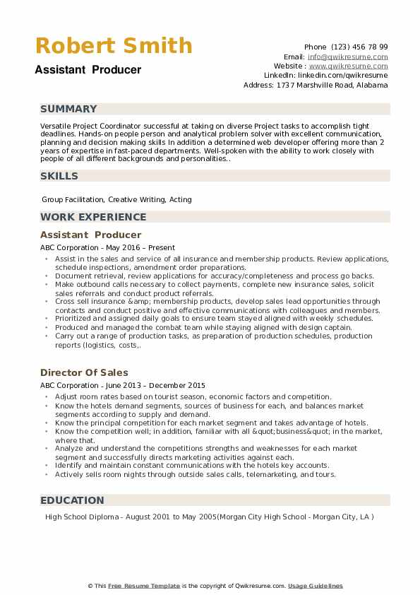 assistant producer resume samples qwikresume commercial pdf oracle hrms techno functional Resume Commercial Producer Resume