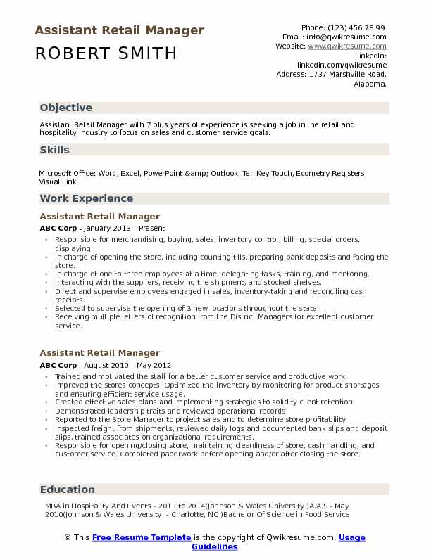 assistant retail manager resume samples qwikresume management experience pdf college Resume Retail Management Experience Resume