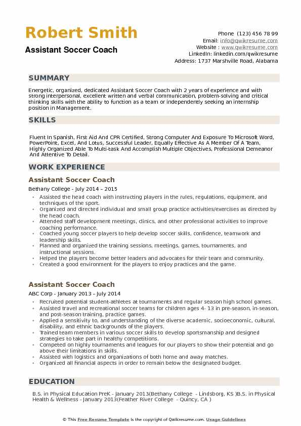 assistant soccer coach resume samples qwikresume objective for coaching pdf make fast and Resume Objective For Coaching Resume