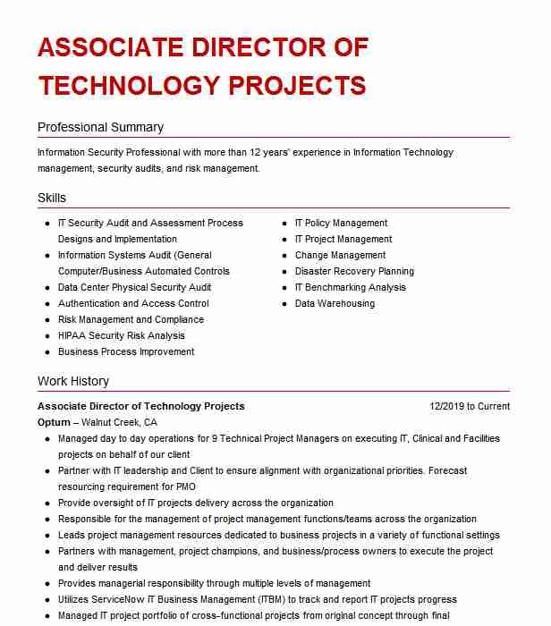 associate projects resume example cognizant technology solutions irving format for cts Resume Resume Format For Cts Company