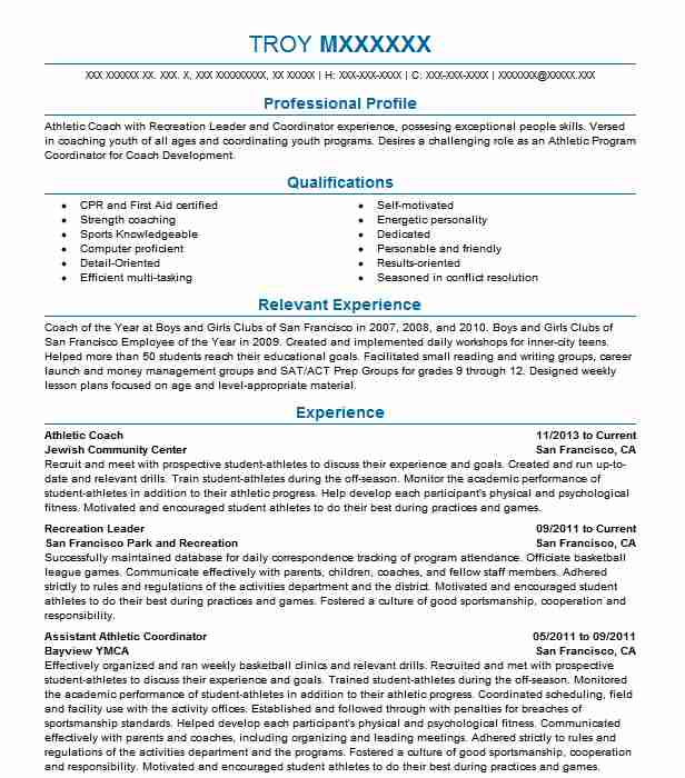 athletic coach resume example sports resumes livecareer objective for coaching job Resume Objective For Coaching Resume