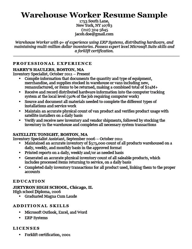 athletic resume builder examples for warehouse associate human services education Resume Resume Summary Examples For Warehouse Worker
