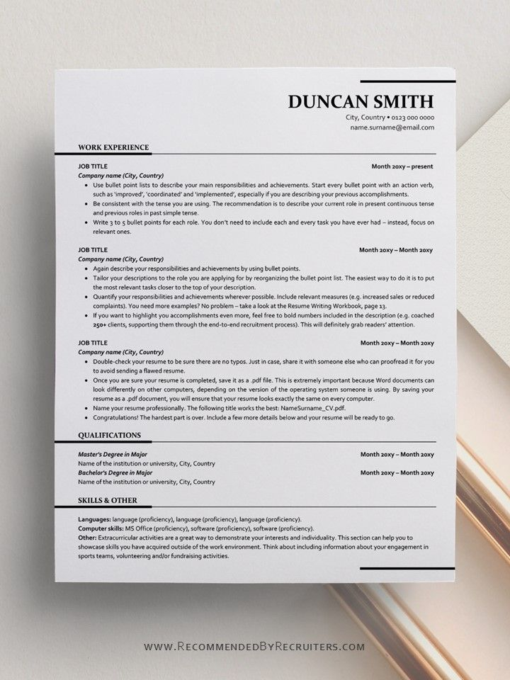 ats friendly resume template instant one and two etsy design free word best format for Resume Ats Friendly Resume Template