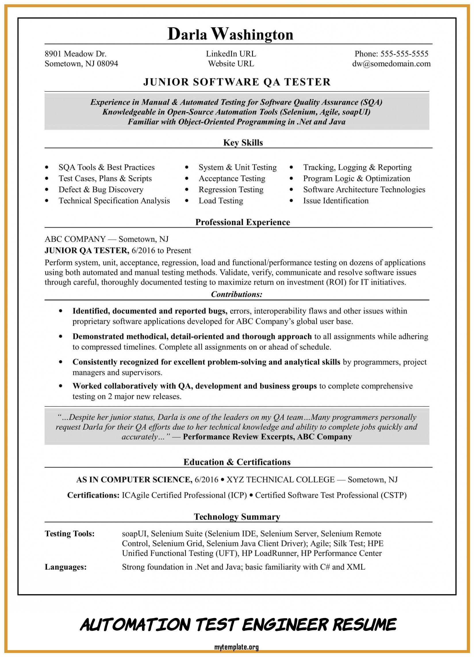 automation test engineer resume free templates tester of take look at pin elegant cover Resume Automation Tester Resume