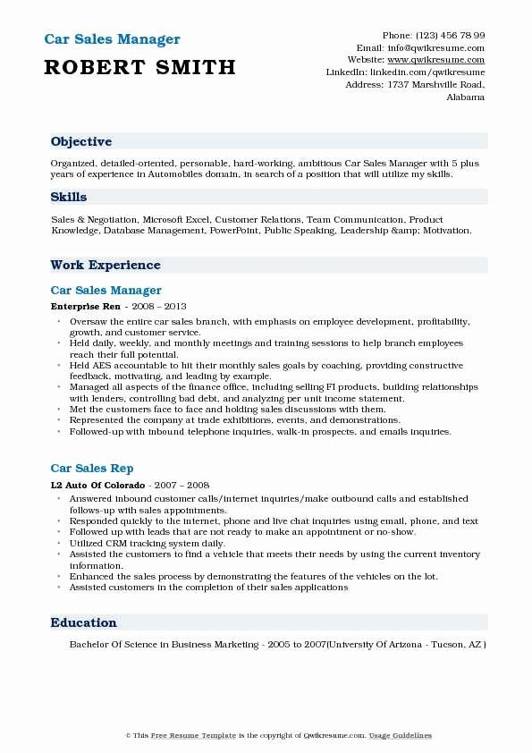 automobile manager resume best of car representative samples examples daycare objective Resume Car Sales Resume Examples