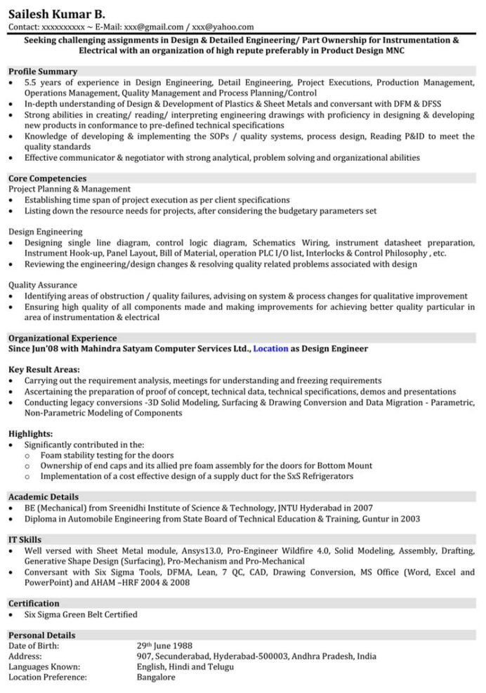 automobile resume samples mechanical engineer format naukri automotive industry sample Resume Telephone Surveyor Resume