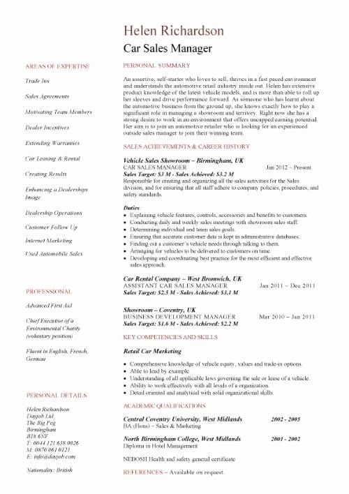 automobile service manager resume elegant car template help examples job samples Resume Car Sales Resume Examples