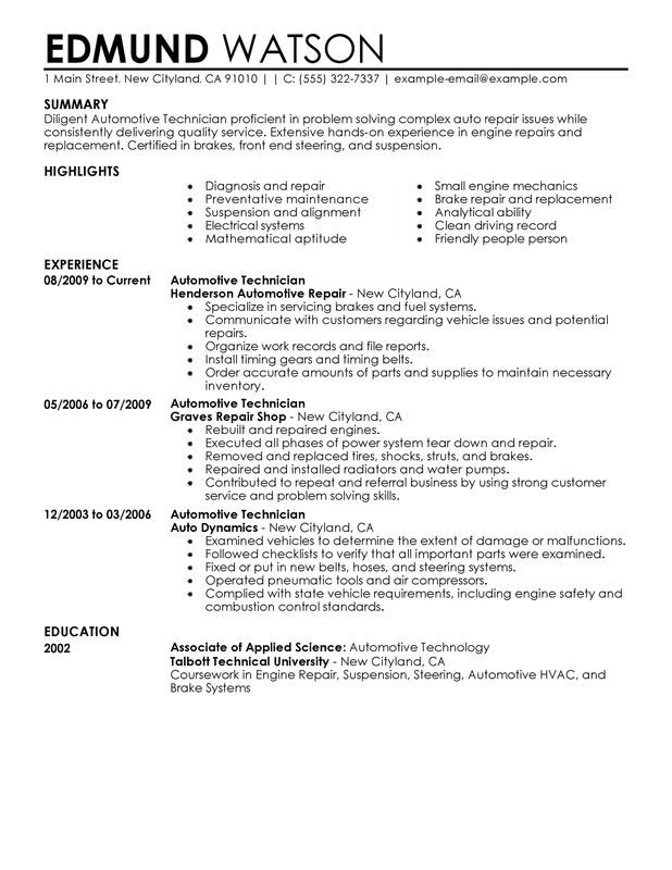 automotive technician resume examples created by pros myperfectresume skills for college Resume Automotive Skills For Resume