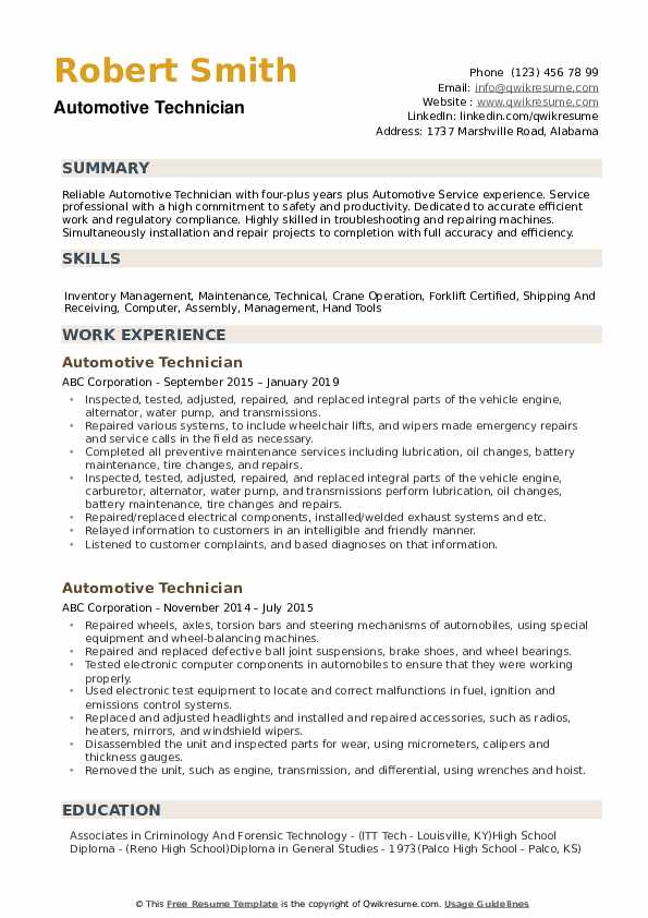 automotive technician resume samples qwikresume pdf human resources generalist examples Resume Senior Technician Resume