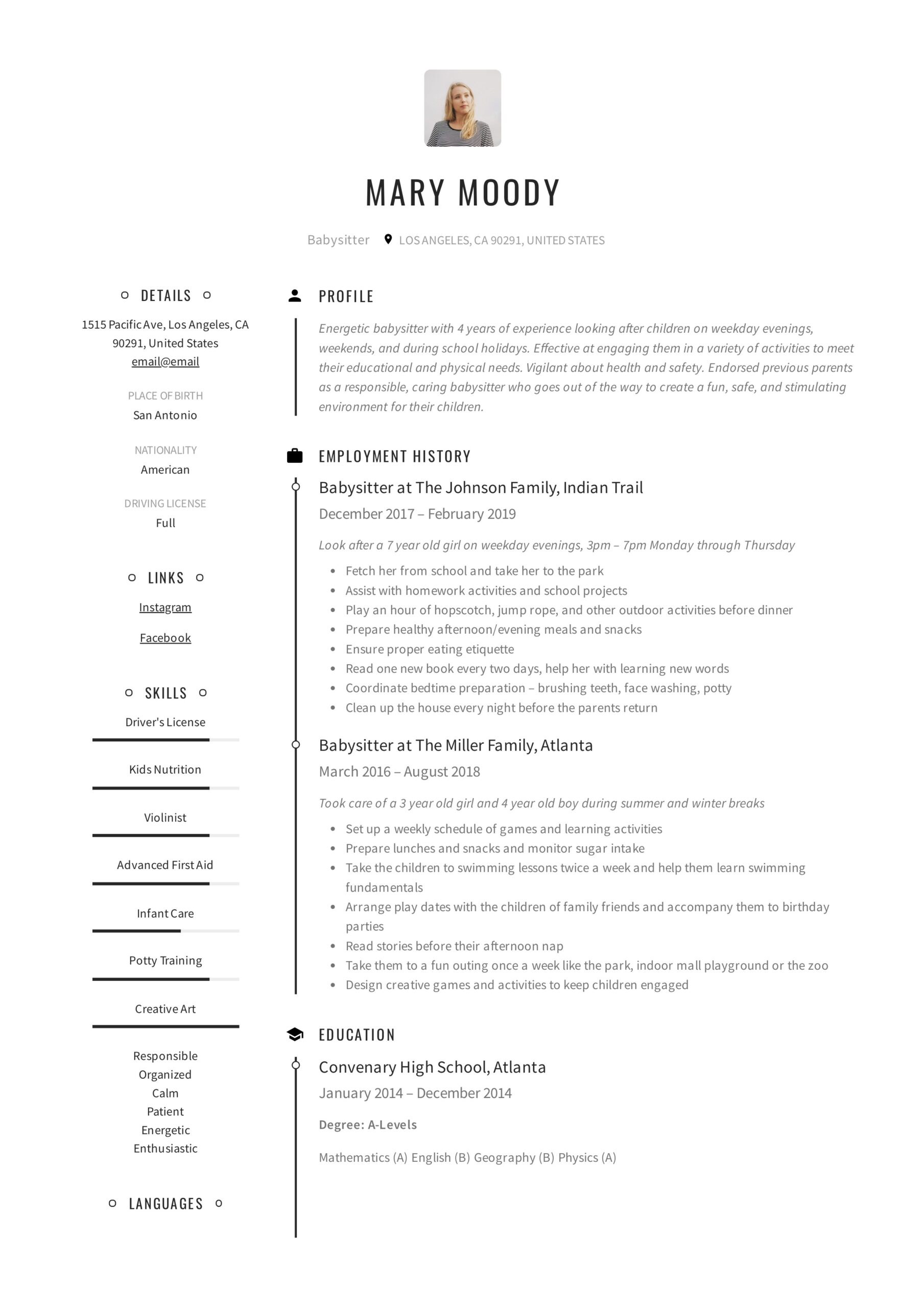 babysitter resume examples writing guide pdf for nanny mary excellent communication Resume Resume For Nanny Babysitter