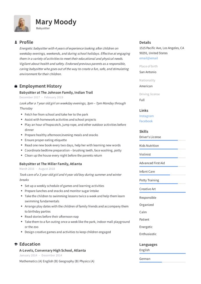 babysitter resume examples writing guide pdf with babysitting experience mary profile Resume Resume With Babysitting Experience