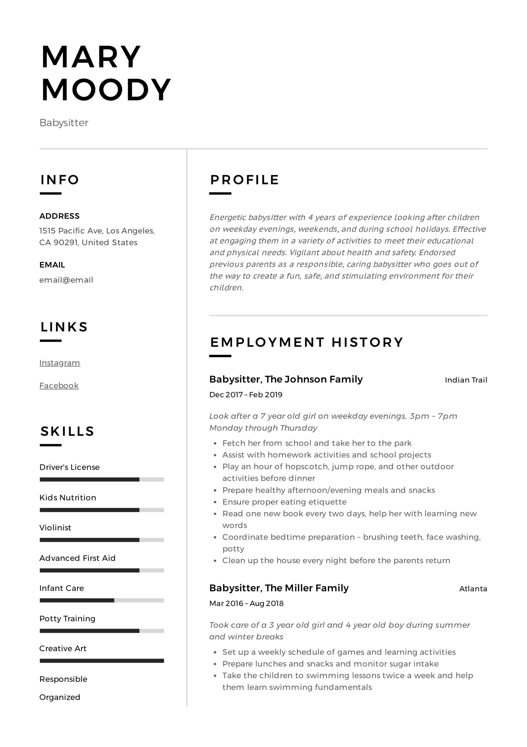 babysitter resume examples writing guide pdf with babysitting experience mary tips Resume Resume With Babysitting Experience