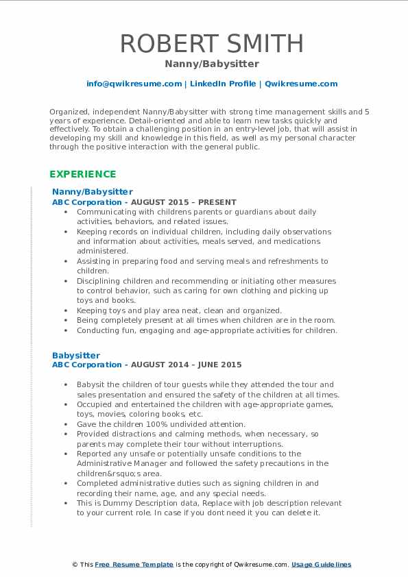 babysitter resume samples qwikresume with babysitting experience pdf professional graphic Resume Resume With Babysitting Experience