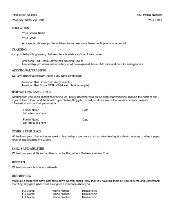 babysitter resume template free word pdf documents premium templates with babysitting Resume Resume With Babysitting Experience