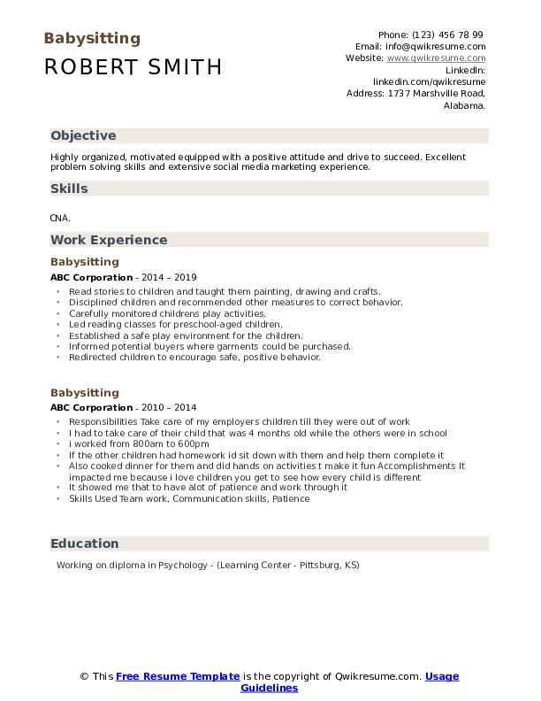 babysitting resume samples qwikresume with experience pdf aws skills best keywords fancy Resume Resume With Babysitting Experience