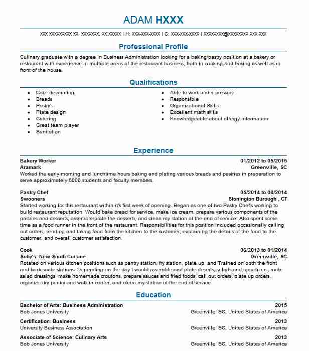 bakery worker resume example resumes livecareer objective for job hard copy of printable Resume Resume Objective For Bakery Job