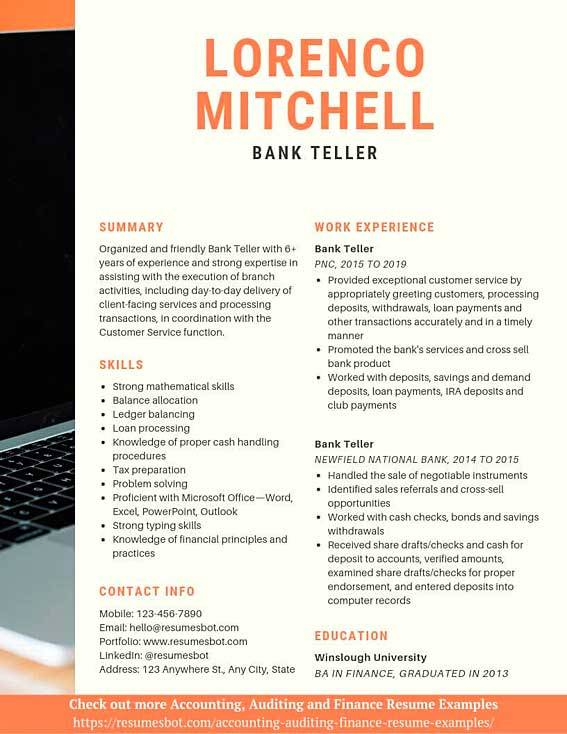 bank resume samples and tips pdf resumes bot description for example psecu application Resume Resume Description For Bank Teller