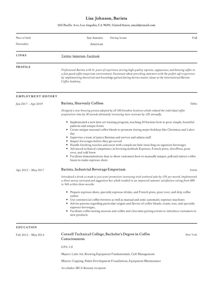 barista resume writing guide templates pdf customer service lisa summary examples for Resume Cafe Customer Service Resume
