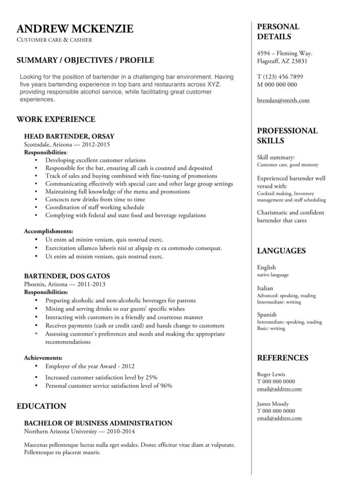 bartender resume guide example downloads pdf word job duties sample strong synonym for Resume Strong Synonym For Resume