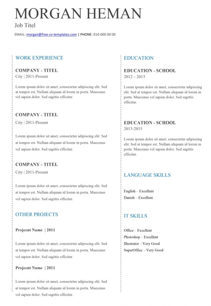 basic cv templates for word land the job with our free very resume template tc 707x1024 Resume Very Basic Resume Template