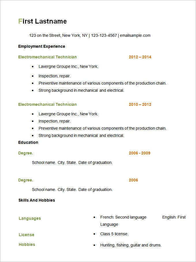 basic resume templates pdf free premium simple template simpl writing packages can you Resume Simple Resume Template Free