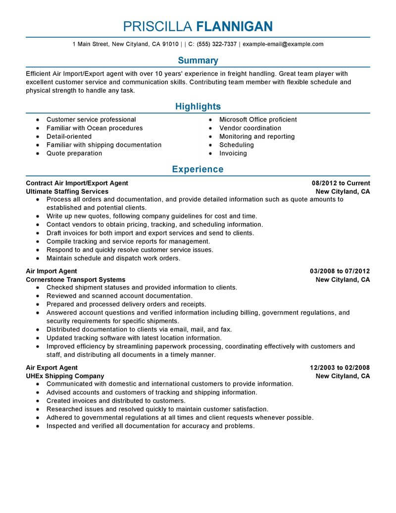 best air import export agent resume example livecareer to template government military Resume Import Resume To Template