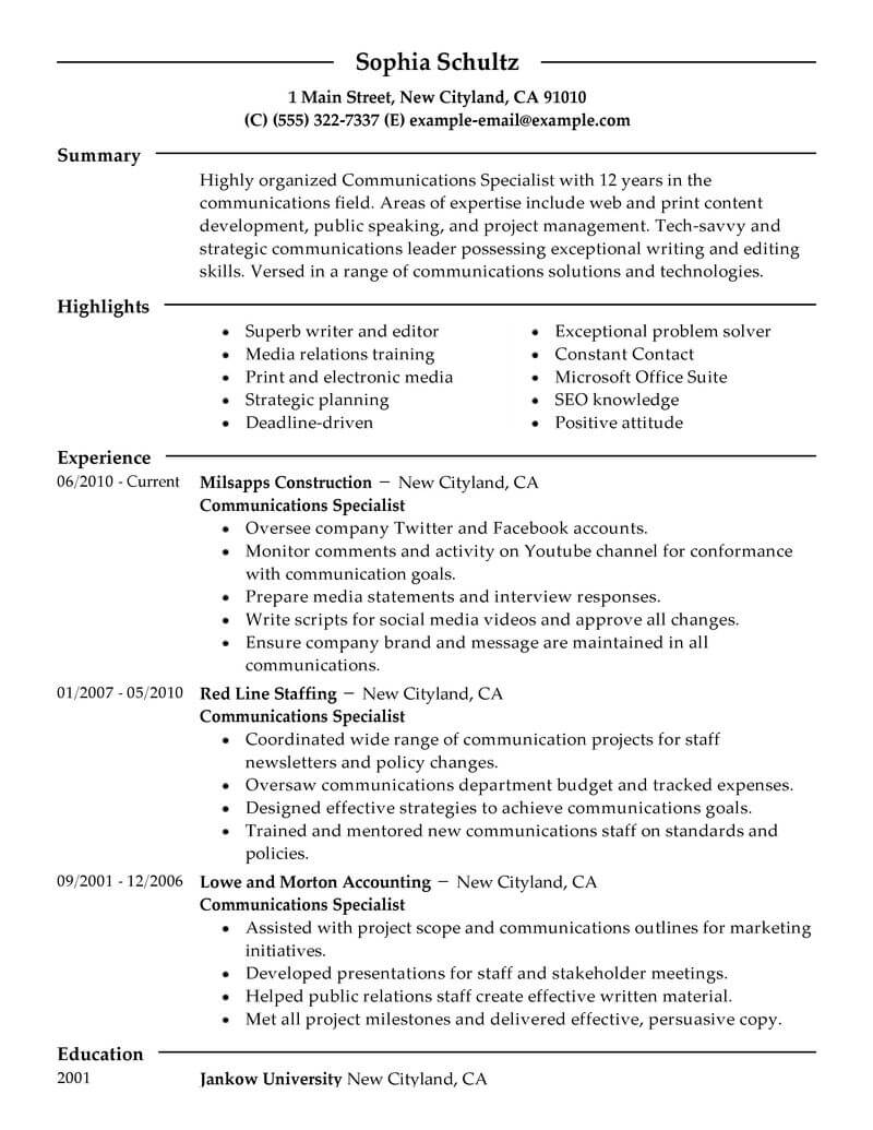 best communications specialist resume example livecareer marketing qualifications modern Resume Marketing Qualifications Resume