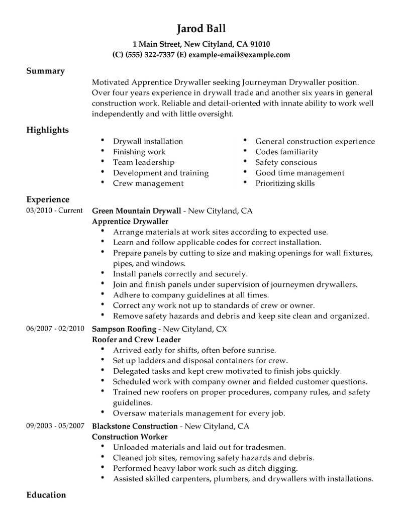 best construction resume examples templates from trust writing service drywall taper Resume Drywall Taper Resume Sample