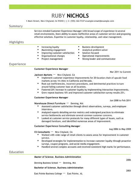 best customer experience manager resume example livecareer service sample retail emphasis Resume Customer Service Manager Resume Sample